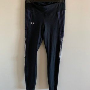 Under Armour Black Leggings with Mesh & Stripes